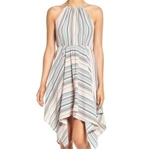 Soprano Stripe Handkerchief Hem Halter Dress, S
